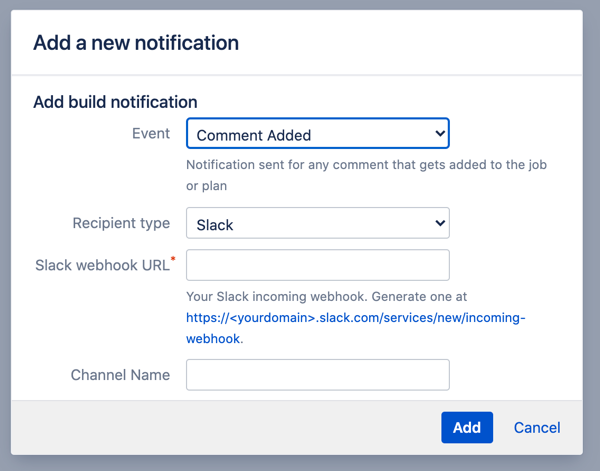slack notification config